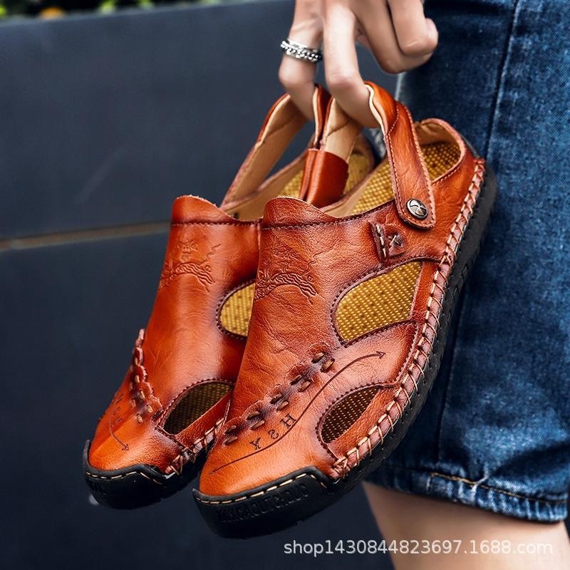 2019 48 sandales en cuir pour hommes supplémentaires plage en plein air respirant été mode grande taille taille vachette casual chaussures hommes e5NxI