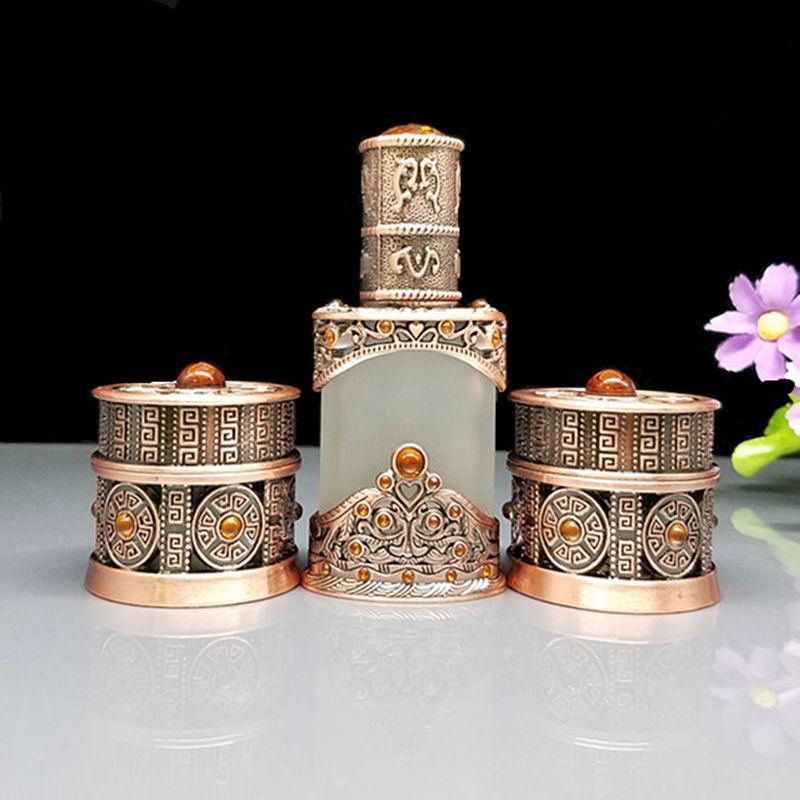 Depolama Şişeleri Kavanoz 8g Vintage Cam Krem Kavanoz 12 ml Buzlu Eeeential Yağ Damlalık Şişe Kozmetik Konteyner Metal Kılıf Craft Decorat