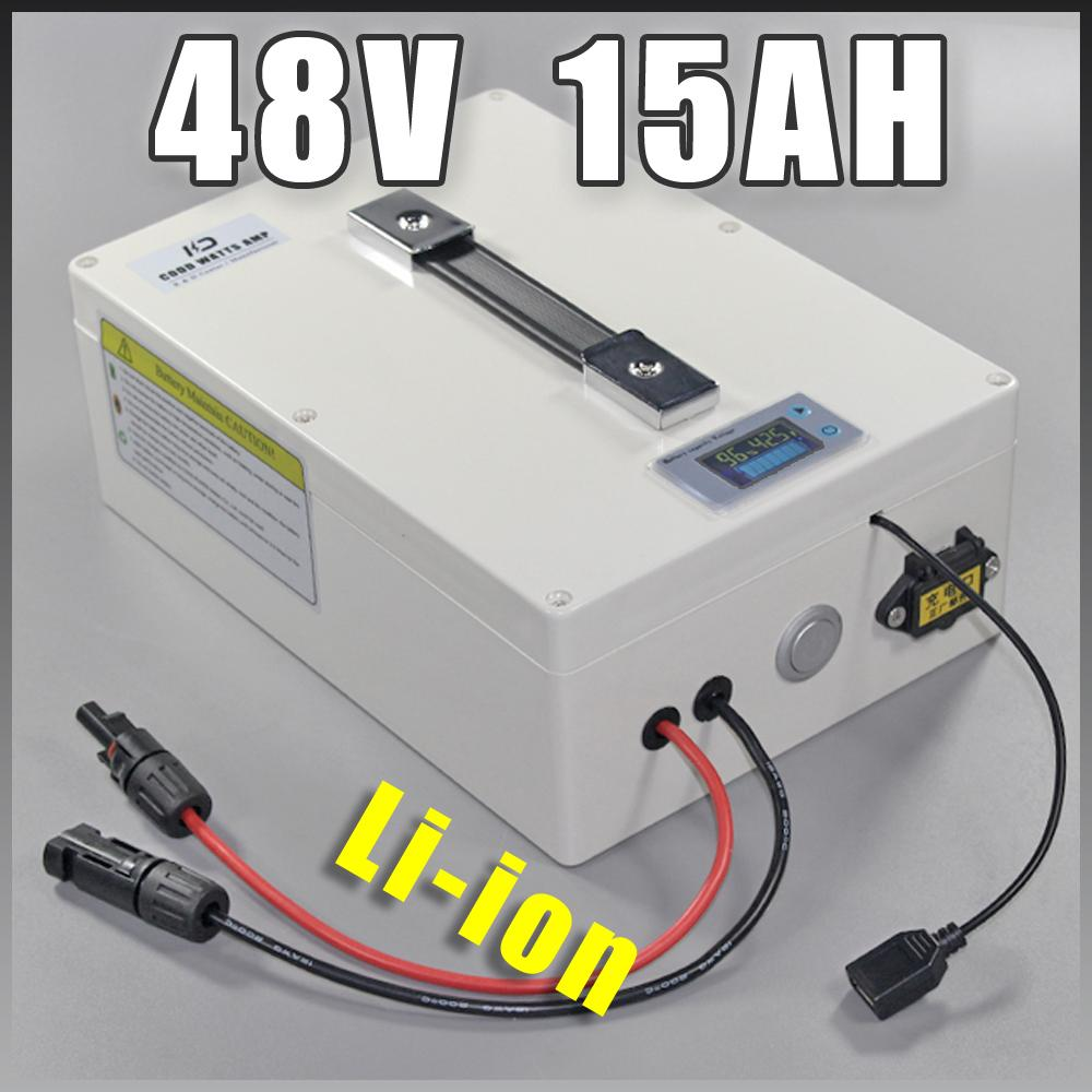 Imposto de alta potência 1000W 48V 15AH bicicleta elétrica da bateria E-bike 48 Volt Lithium com 3A BMS 2A Carregador