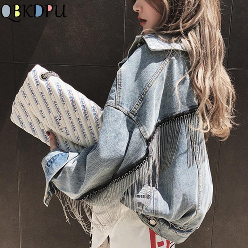 Mulheres Denim longo Batwing Sleeve Jacket Primavera Beading Tassle Curto soltos menina Jeans Casacos Streetwear Moda Harajuku Casacos