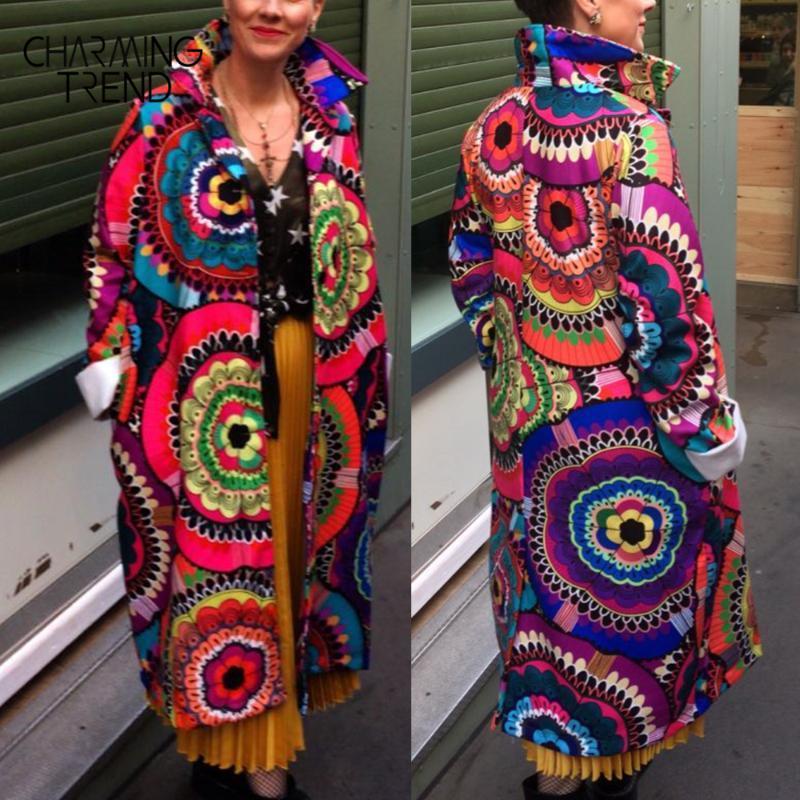 المرأة معطف زهرة مطبوعة كم طويل 2020 شتاء ربيع سترة المرأة معطف من الصوف خمر عارضة أنيقة نمط العرقية