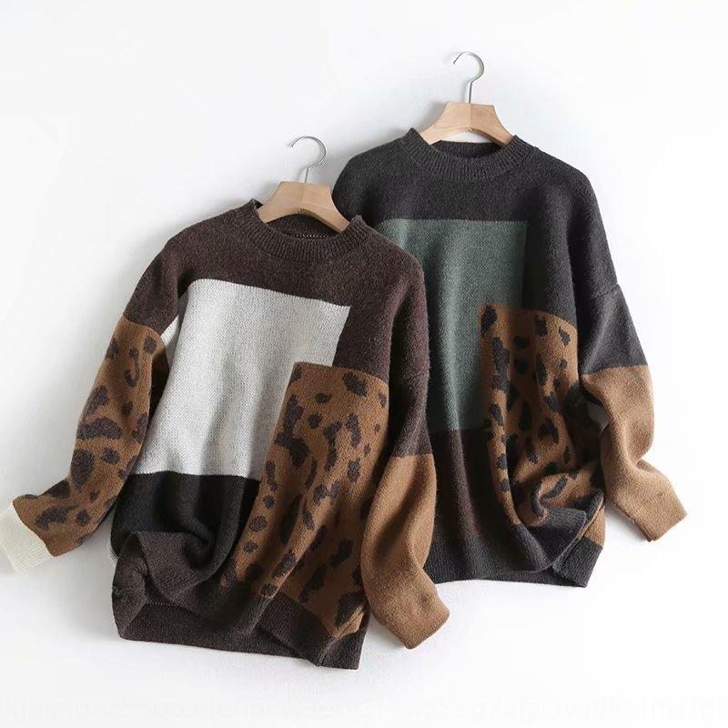 Wh8qp A2SY-2330 de Corea del suéter de la ropa 2019 patrón de otoño e invierno nuevo informal leopardo cuello redondo suéter del suéter de las mujeres