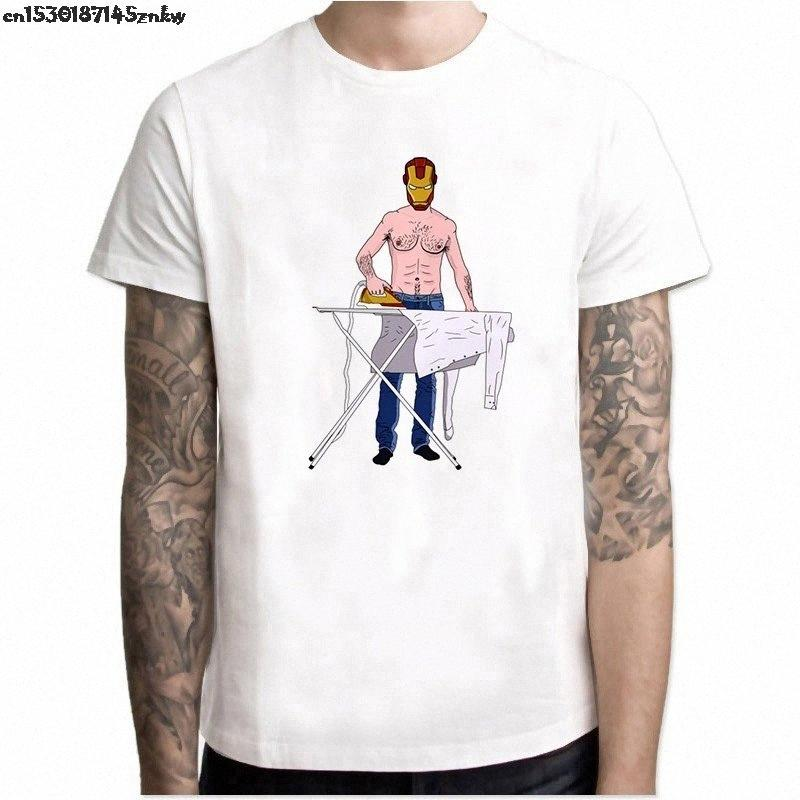 Verano T Estética divertido del hombre de planchado Iron Man Marvel El Fin del juego de los hombres de la vendimia Camisa Streetwear Camisetas Hombre P37 RN6L #