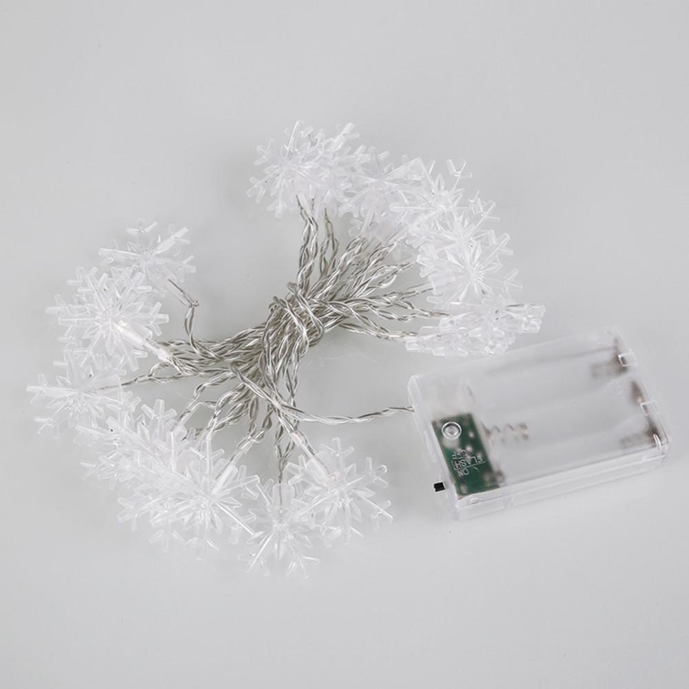 1.2M 3M Schneeflocke-Schnur-Licht 10 20 LED-Indoor-Fee-Schnur-Licht-warmes Weiß Wasserdicht Batterie-Schnur-Licht für Outdoor-Party