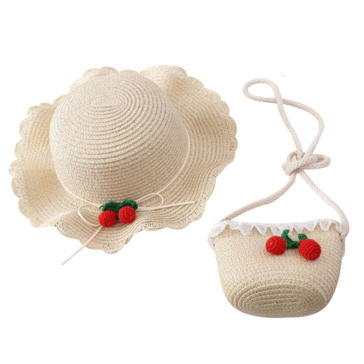 Yeni yaz çocuk rahat hasır şapka + çanta Açık tatil Kid kız Kiraz güneş şapkası Panama kap ve çanta seti