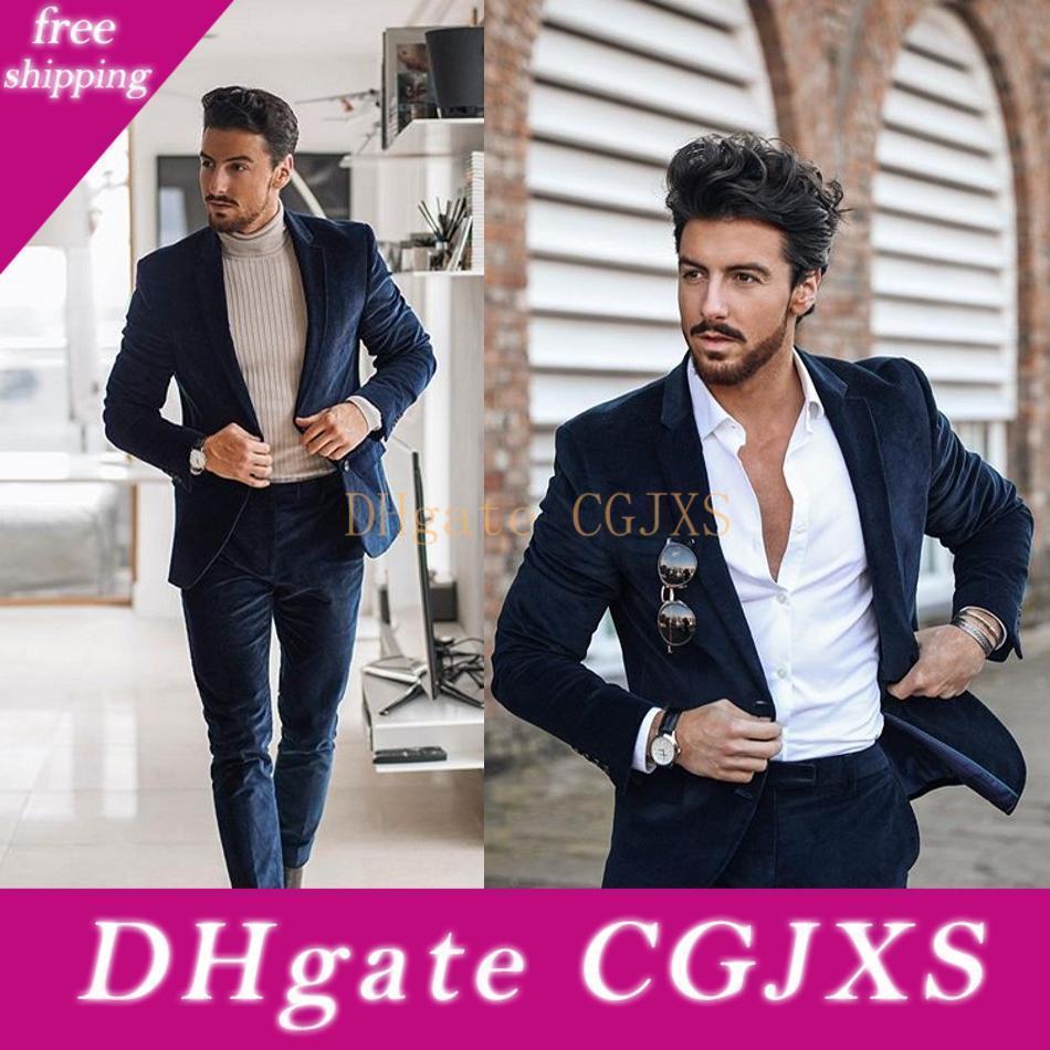 Yüksek Kaliteli Kadife Erkekler smokin Damat Düğün Suit Slim Fit İki Düğme Peaked Yaka Erkek Takım Elbise 2 adet Coat Pantolon (Ceket Pantolon)