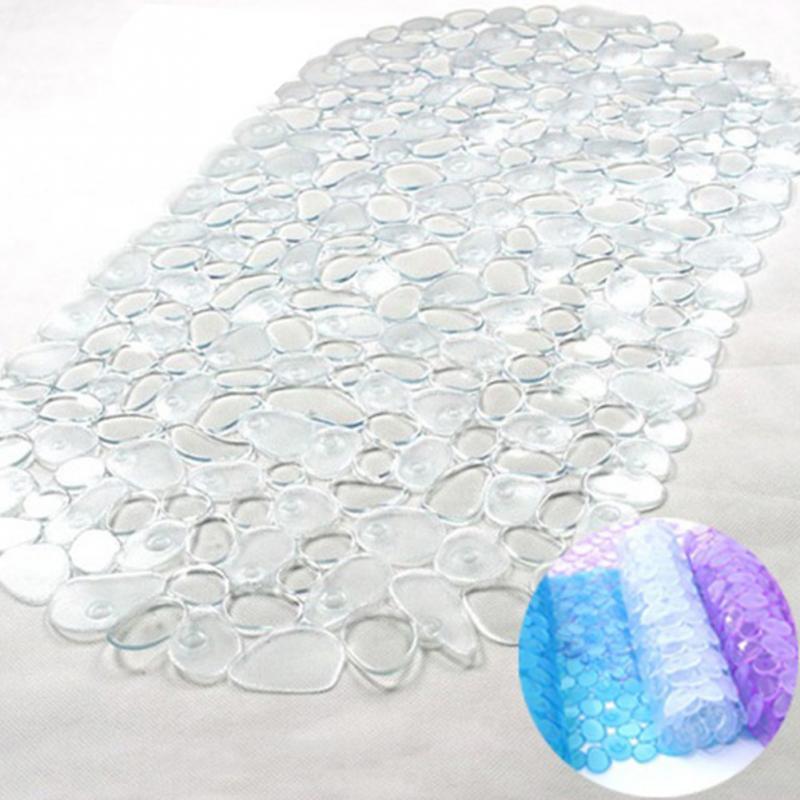 Baño antideslizante Mat 65 * 36cm Cobblestone transparente estera de PVC con baño lechón