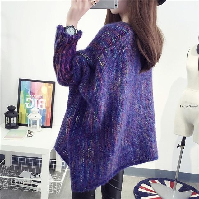 GLsa1 outono morna do pulôver e colorido manga morcego manto camisola de comprimento médio das mulheres inverno pullover casaco solto camisola moda chiqueiro coreano