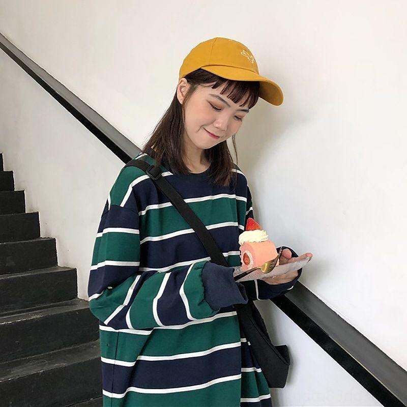 Cotton camisola 2020 novo estudante superior solta listrado fino manga comprida Top Coat desgaste exterior ins pfAIw