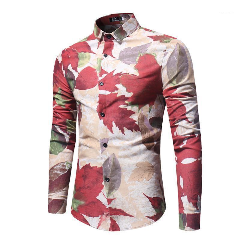 Maple Leaf Erkek Gömlek Modelleri Moda İnce Tek Breasted Erkek Gömlek Casual Erkek Giyim