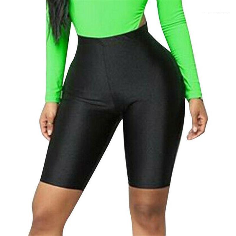 Талия шорты Женская мода естественный цвет шорты вскользь высокой талией женщин Дизайнер Шорты Тощий колен Упругие