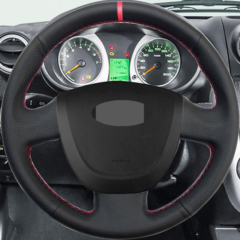 Fai da te nero artificiale Volante in pelle di rotella Copertura indicatore rosso di colore sulla parte superiore per Lada Granta 2011-2016