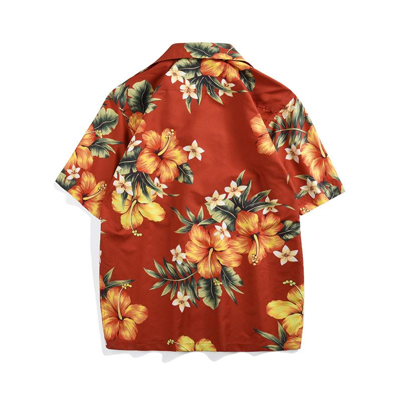 Hombre y para mujer de la playa camisa floja marca de moda de verano 2020 Nueva Impresión floral de vacaciones informal de gran tamaño de manga corta