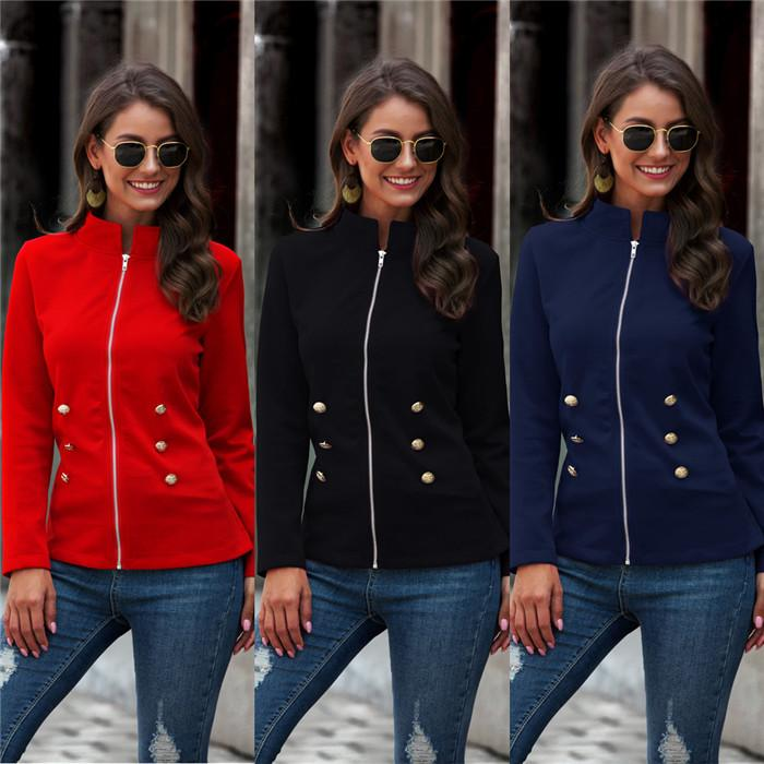 Solid Color Jackets Womens Designer Zipper Stand Collar Long Sleeve Slim Coats Casual Patchwork Women Autumn Outerwear Clothing