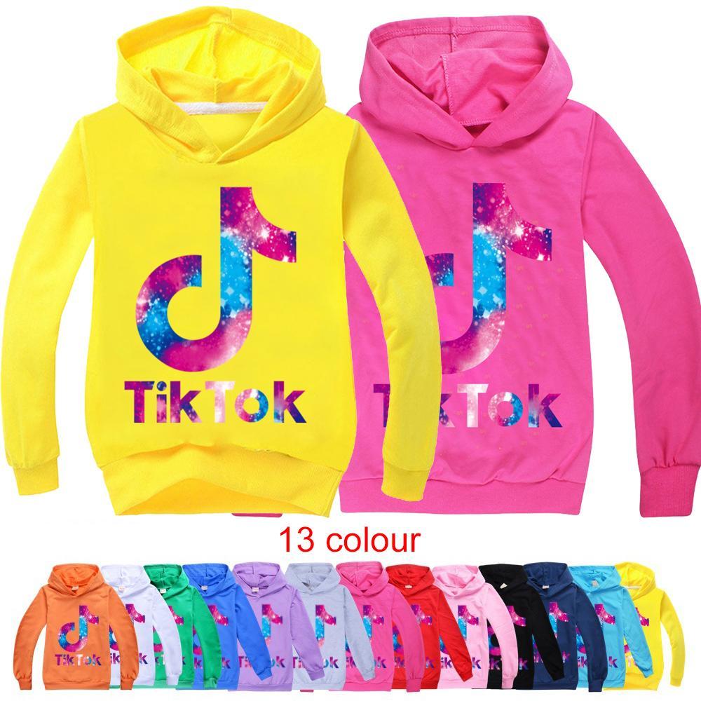 Douyin tiktok crianças manga comprida hoodies menino / menina tops adolescente crianças tik tok moletom casaco com capuz casaco de algodão roupas