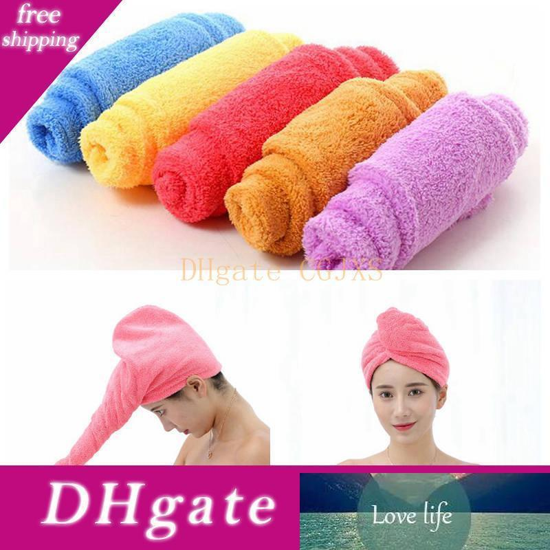 Shower Caps Magic Quick Dry Hair Microfiber Towel Candy Color Drying Turban Wrap Hat Caps Shampoo Bath Cap Soft Spa Bathing Caps Cls204