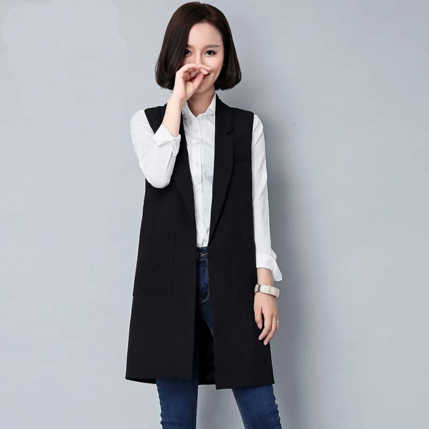 2020 neue Frauen Herbst Jacke Marke Westentaschen öffnen Stich Ärmel Umlegekragen Formal lange Weste A187