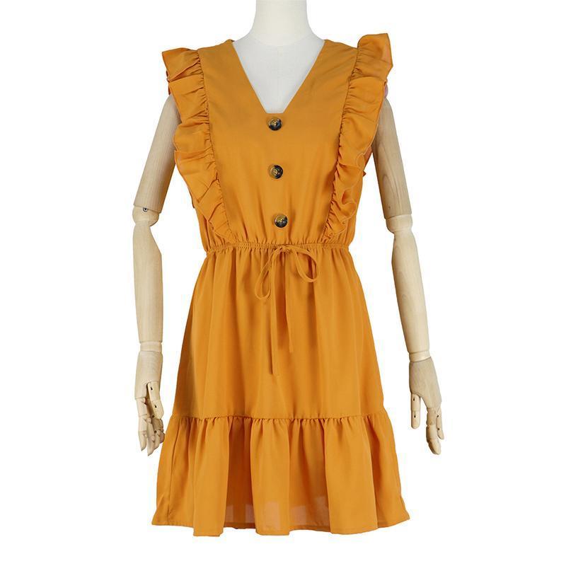 Горячие продажи сексуальное платье женщин рябить с плеча мундир высокой талией партии V шеи Повседневный Boho пляж Желтый Женщины Летнее платье S-XL
