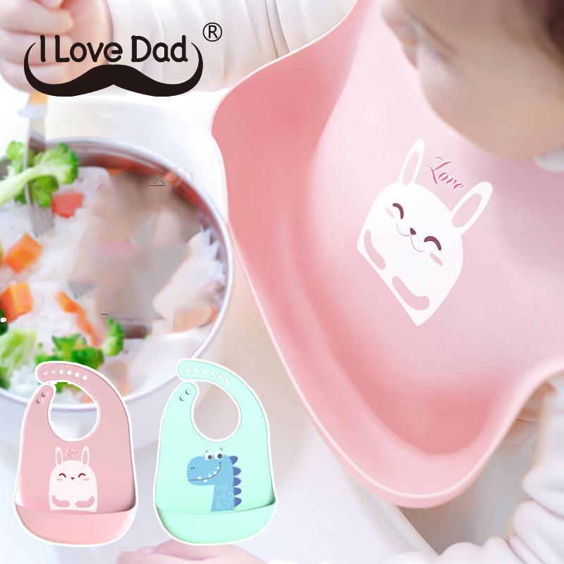 Cute Baby Bibs Waterproof Silicone Cartoon Dinosaur Print Baby Stuff Girl Boy Feeding Bibs Adjustable Kids Children Bib