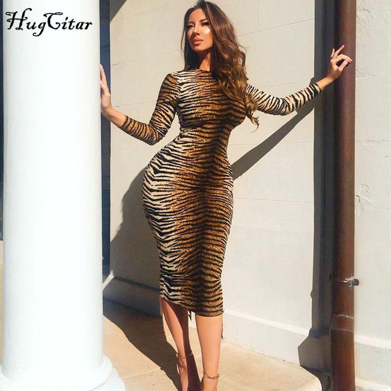 Hugcitar leopard print long sleeve slim bodycon sexy dress autumn winter women streetwear party festival dresses outfits 200922