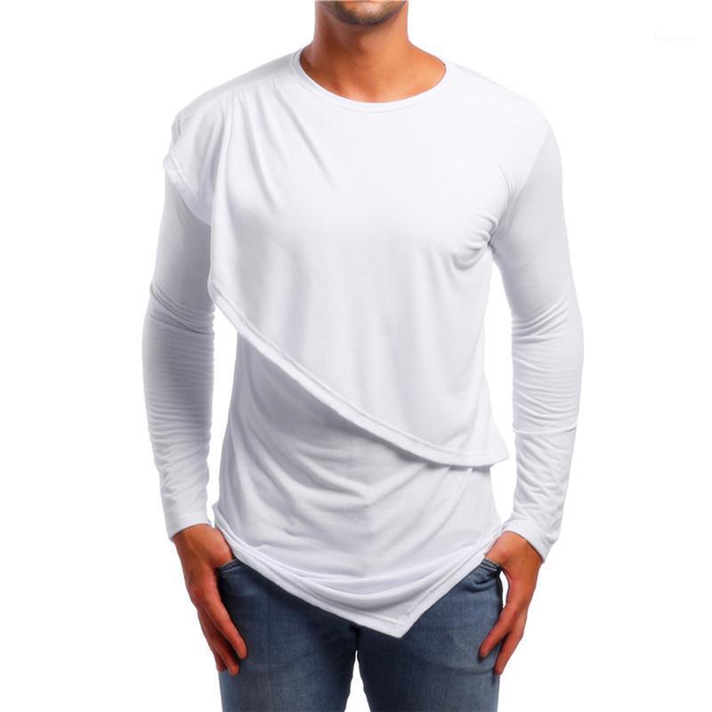 Designer-T-Shirts Fest Farbe gedruckt Langarm-Sport-Art-unregelmäßige Oberseiten-beiläufige Mens Kleidung Drop Herbst Männlich