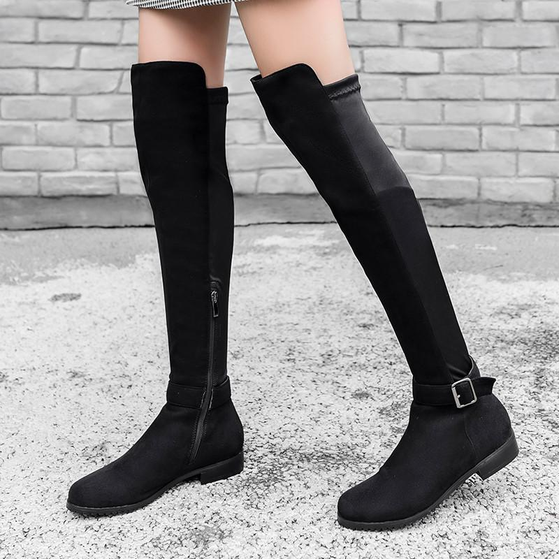 YMECHIC 2020 Señora Otoño Invierno bloqueo bajo del talón sobre la rodilla de alta Knight librar de Motocicletas Botas Gris Negro hebilla zapatos de las mujeres