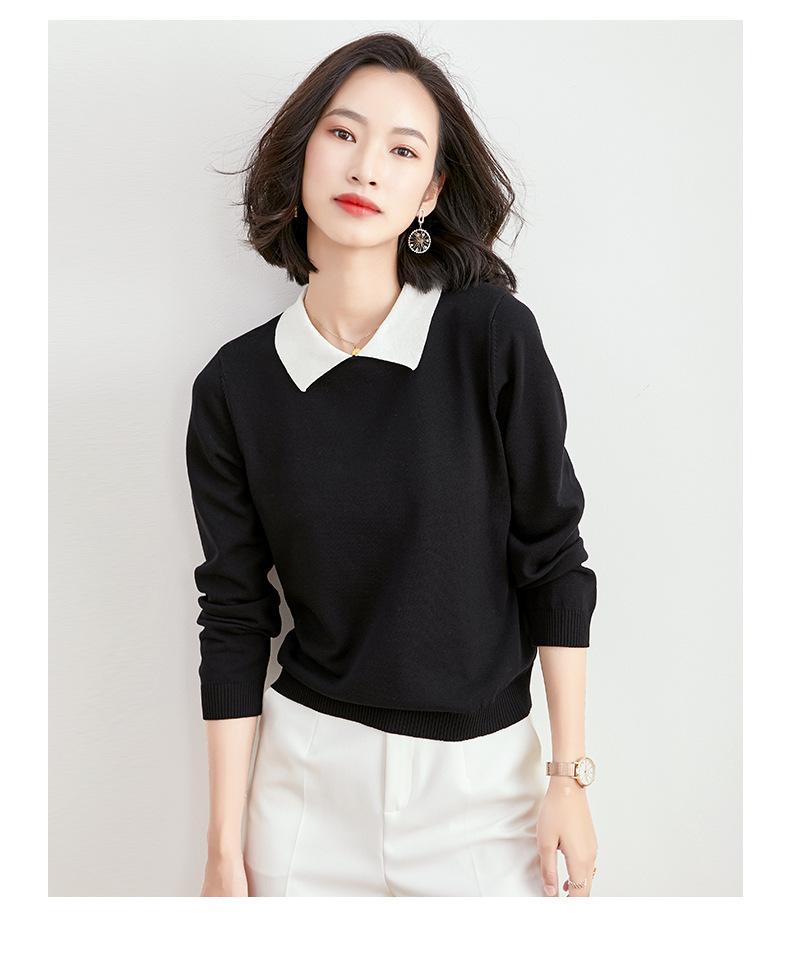 Мода нагрудные шеи воротник с длинными рукавами свитер 2020 осенью новый приход женщин рыхлой корейского вскользь пуловер свитер