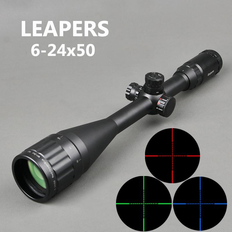 Викторины 6-24x50 AOL охотничья винтовка Scopes Sniper Case Tactical Optics Scopes RGB освещена для охотничьих винтовки