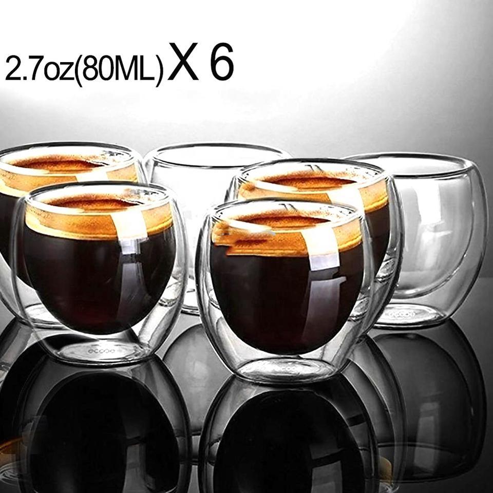 80 ملليلتر معزول مزدوج الجدار متعدد الاستخدامات الحرارة الزجاج كؤوس لاتيه حليب القهوة بهلوان 6 قطع حزمة المحمولة النار الزجاج كؤوس هدية عيد