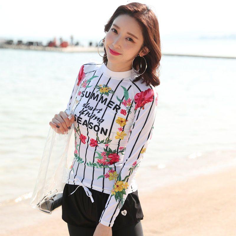 Frauen-Smoothies Printed Langarm Rashguard Shirt Basic Haut Top Compression-Schwimmen-Hemd Sun UV-Schutz-Badebekleidung