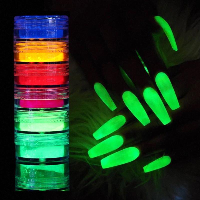 6 BoxesLuminous Nail scintillio polvere fluorescente Polvere Chrome Polvere Glow In The Dark Neon Phosphor pigmento della decorazione del chiodo 1IjS #