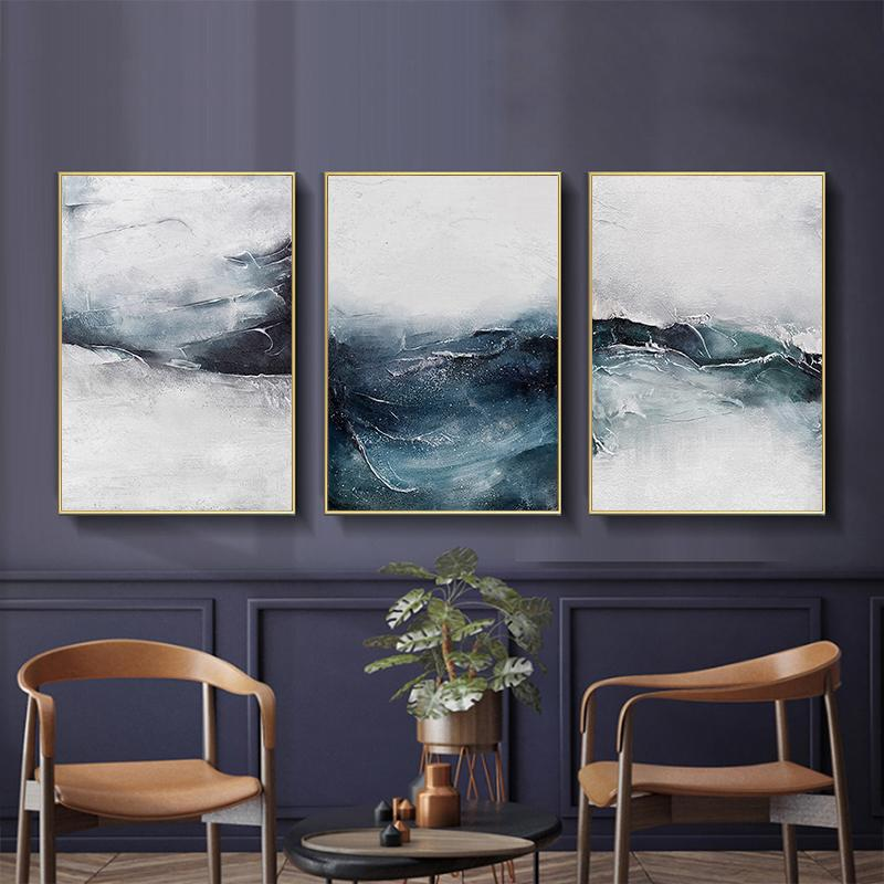 Minimalist Painting Blue Sea Wall Art Canvas Painting Nordic Posters And Prints Plant Wall Pictures For Living Room Decoration