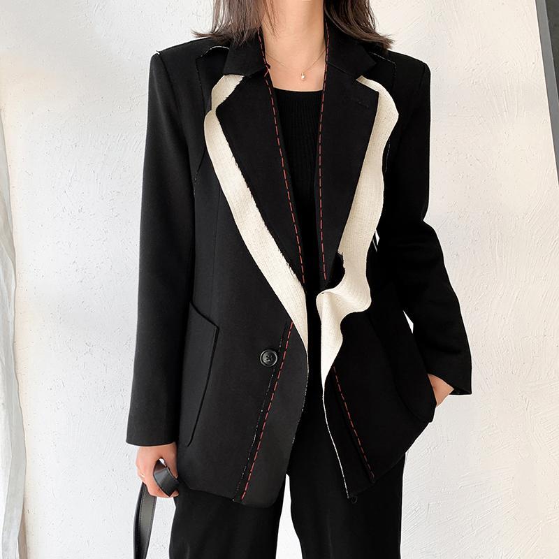 Office Lady Femmes Blazer Contraste Noir Couleur Burr Blazer manches longues New Lapel Loose Fit Jacket Mode Femmes S Vêtements
