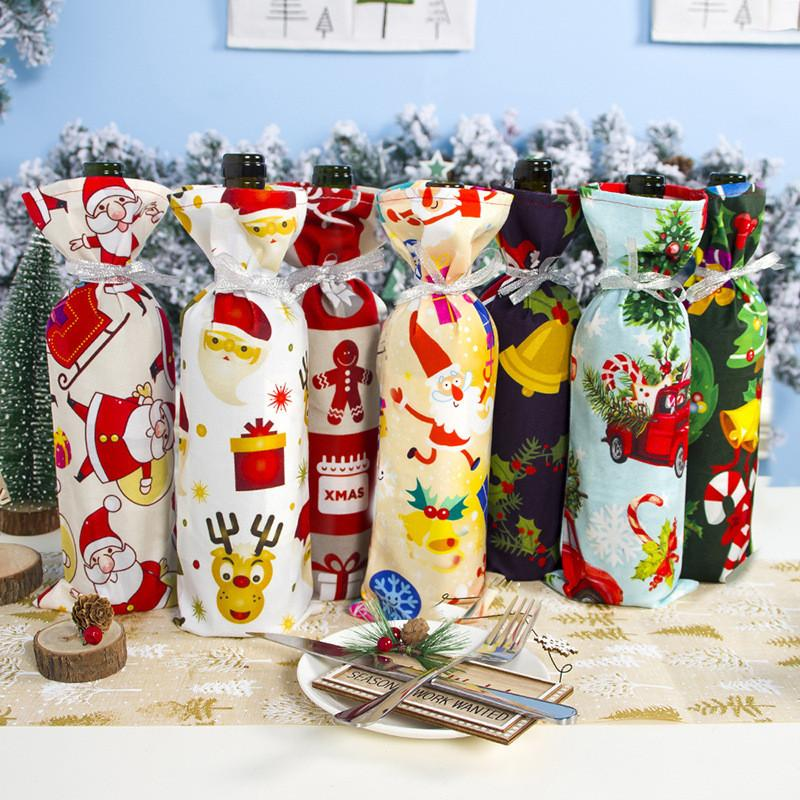Bottiglia di vino di Natale di copertura in poliestere flanella di cotone del pupazzo di neve di Santa cervi Campana Stampato Vino di Natale Cassa di natale Kitchen Decor OOA8440