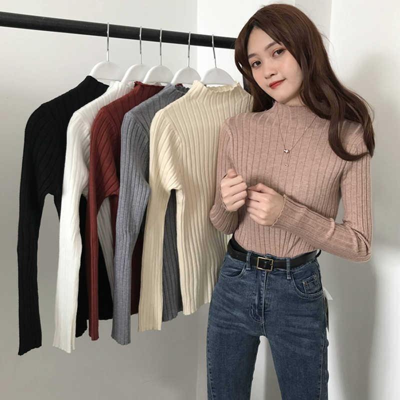Herbst / Winter 2020 neuer High-Ansatz dünne Oberbekleidung kurze Jackenärmel langer innere Basis Knitstrickjacke Frauen Allgleiches