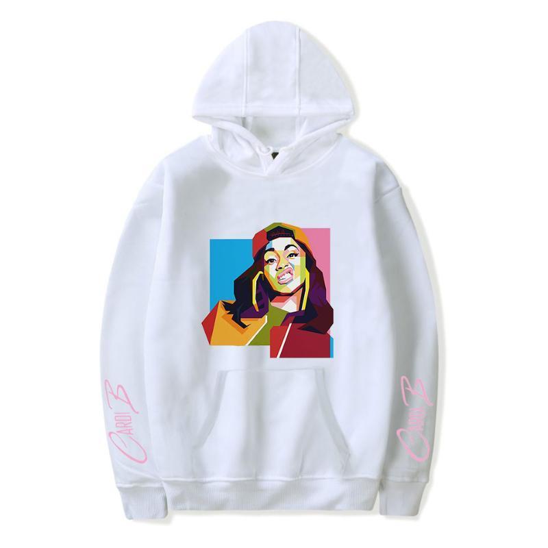 Cardi rapero B con capucha mujer de marca Harajuku divertido impresión de algodón blanco cálido salvaje Tops mujeres camiseta Moda Ropa de Hip Hop