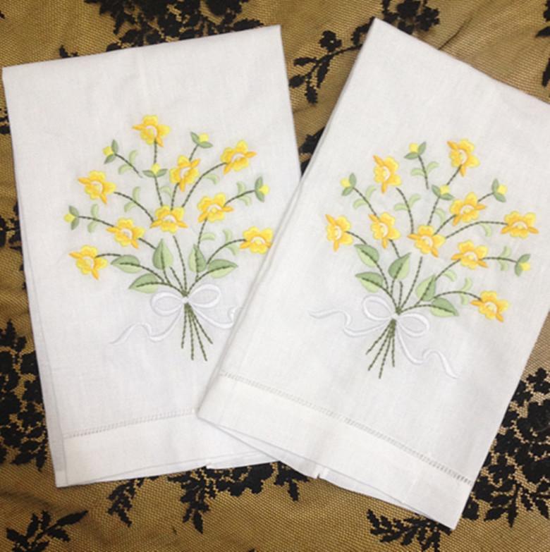 Nouveauté unisexe Mouchoirs 12PCS / Lot 14 « x21 » Lin Vintage vacances Mouchoir Serviettes brodées Floral Mouchoirs Pour Occasions