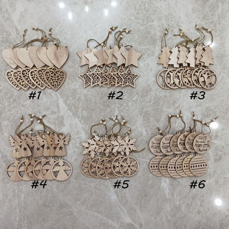 12pcs / Sets 2020 Weihnachten Holz SNOW ELK-Form-Anhänger Mode Ausgehöhlte Weihnachtsbaumschmuck Festival Supplies Geschenke Spielzeug D83103