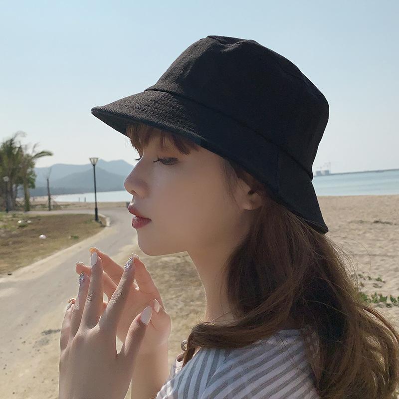 Bucket Chapeaux d'été réversible Chapeau Solide Couleur Blanc Rose Chapeau de soleil Plage Protection UV Round Top 2020 Mode