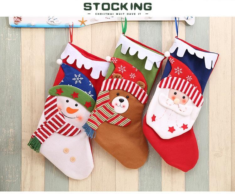 New Year Christmas Stocking Sack Xmas Gift Candy Bag Christmas Decorations for Sock Christmas Tree Decor DC287