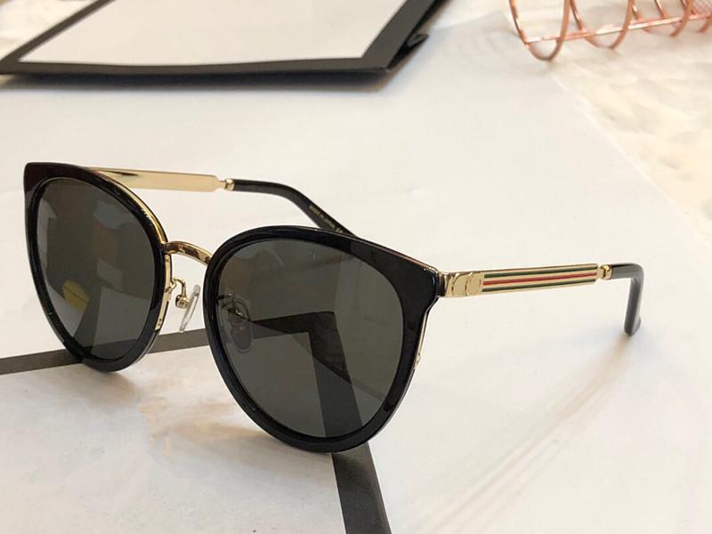 موضة جديدة مصمم النظارات الشمسية 0077 إطار معدني إمرأة شعبية عين القط النظارات ذات جودة عالية وأسلوب جذاب UV400 النظارات العلامة التجارية مع حزمة