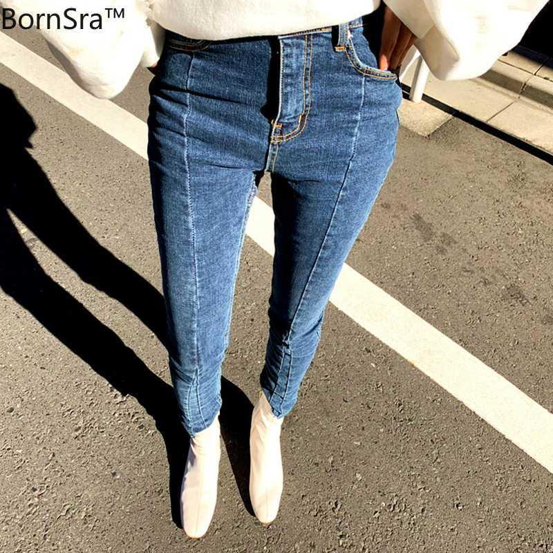 Jeans das mulheres Bornsra 2021 Primavera Stretch Stretch Stretchwork Denim Mulheres Skinny Tassel Calças de Cintura Alta Capris Feminino Lápis Femme