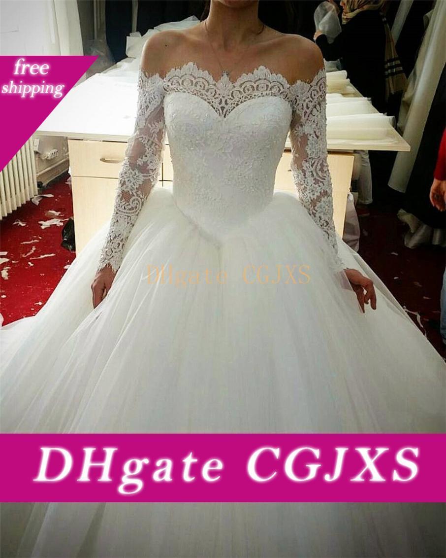 Tul Cuello Barco atan para arriba del hombro vestidos de boda apliques de lentejuelas Corte de la bola de tren de encaje vestidos de novia de la boda