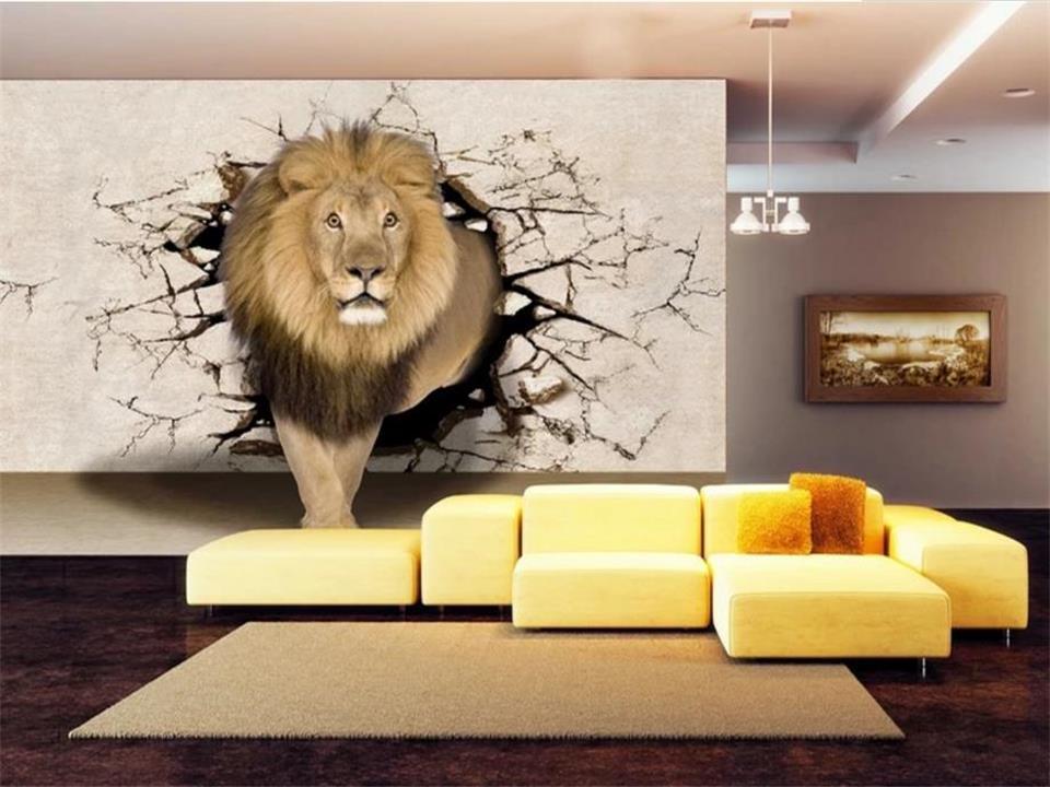 Tamanho personalizado 3D Photo Wallpaper Sala Mural Lion Recados Buraco 3D Imagem Sofá Fundo Mural Home Decor Creative Hotel Estudo Wallpaper 3D