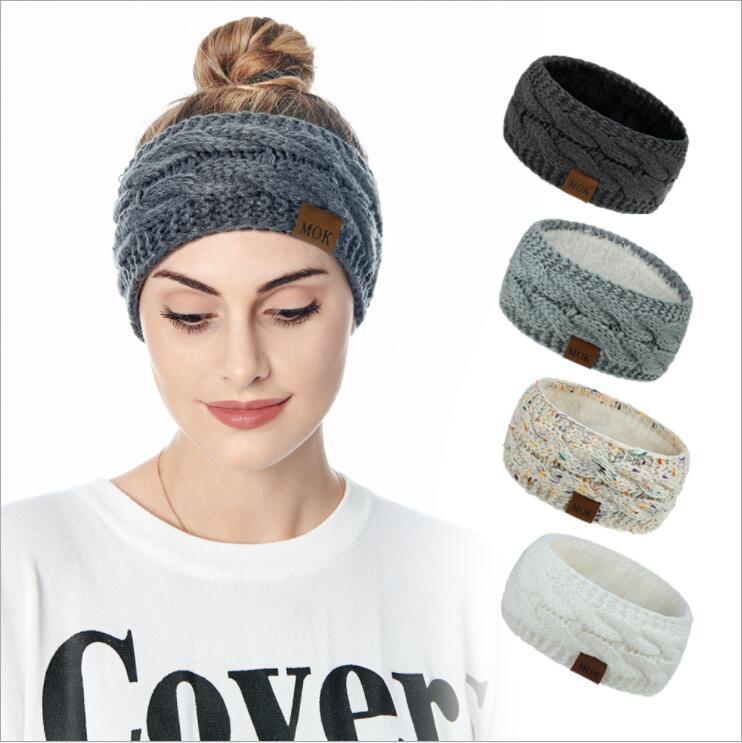 Knitted Headband Winter Women Lady Warmer Crochet Turban Head Wrap Plush Earflaps Elastic Headwrap Hairbands Accessories OOA8466
