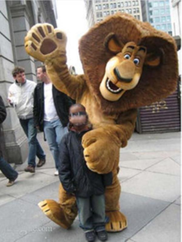 2017 custom made Madagascar vendita superiore Alex del leone del costume della mascotte della peluche personaggio dei cartoni animati del vestito adulto di formato di trasporto SME