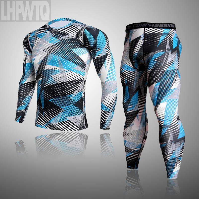 2 шт набор Камуфляж термобельё Мужчины Compression набор Запуск Узкие брюки T-рубашки мужские Фитнес Одежда Спортивный костюм