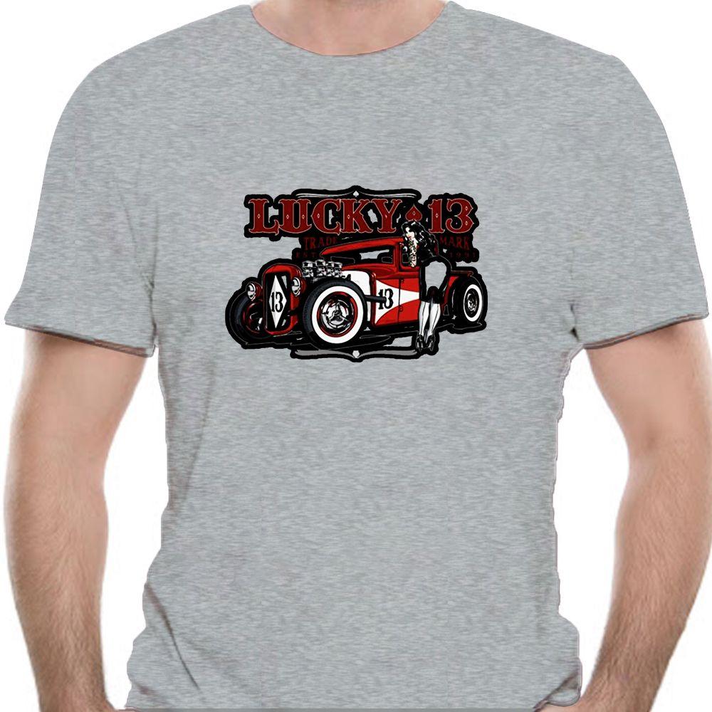 Lucky 13 del coche de carreras de coches y modela de Trabajo de la muchacha camisa de Adrian (1) -4630A