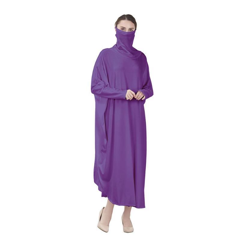 Женщины полное покрытие с длинным рукавом Молитва Robe платье Кафтан джилбаба Абая Maxi Муслим 2020