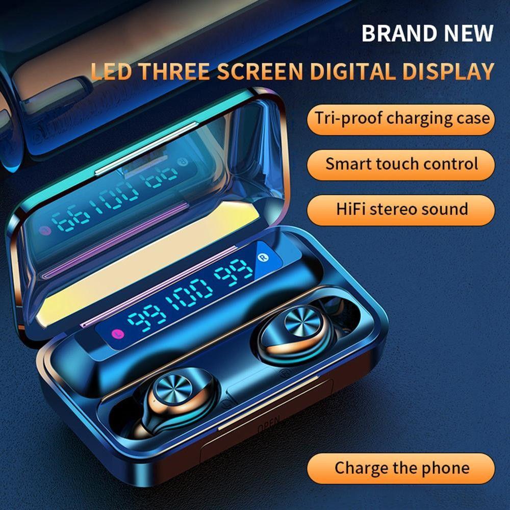 F9-10 TWS drahtlose Bluetooth 5.0 Unsichtbare Kopfhörer Earbuds Stereo Noise-Cancelling-Gaming-Headset mit 3 LED-Stromanzeige